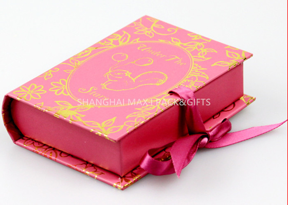 China Book Style Branded Gift Boxes Pink Color Customize paper Unique Socks Packaging supplier