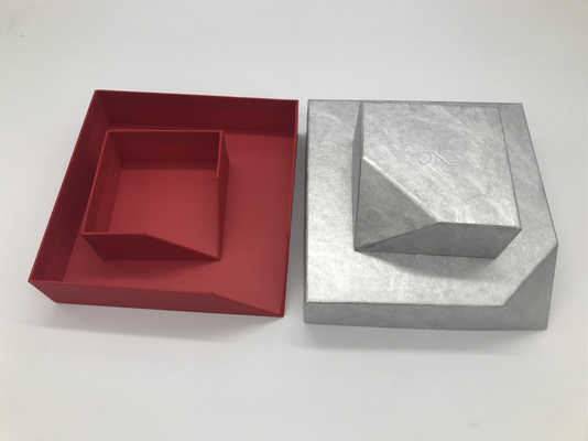 China Custom Special-shaped Red Box with Logo Silver Foiled, Jewelry Box for Necklace Packing supplier