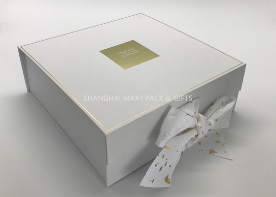 Small / Big Plain White Cardboard Gift Boxes With Lids Ribbon Bow Gold Foil Hot Stamping