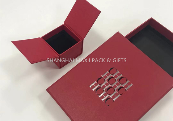 Little Red Fancy Jewelry Box For Rings Only Logo Printing Paper Wrapping 2 Sides Opened