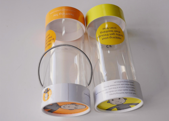 China Small Clear Plastic Presentation Box , Personalised Clear Plastic Cups With Lids String Handle Tube Shape distributor
