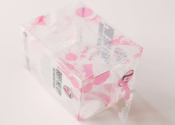 China Fancy Pink Printed Small Pink Storage Boxes Plastic Cosmetic Packaging With Hanger 4 X 4 distributor