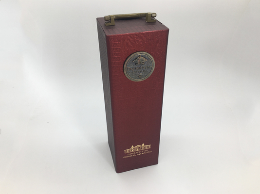 China Custom PU Leather Luxury Bottle Packaging / Single Wine Box Hot Stamp Finishing distributor