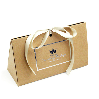 China Fancy Triangle Gift Box With Logo Hot Stamped And Ribbon Attached distributor