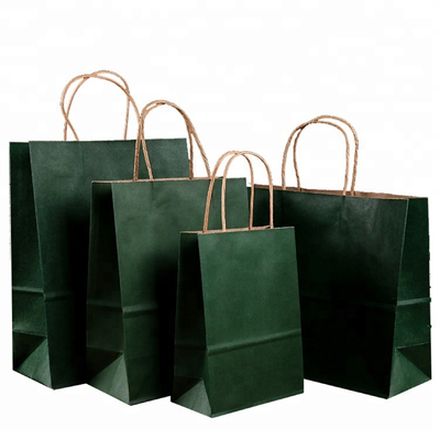 China Roller Printing Medium Paper Bags With Handles / Kraft Paper Bags Machine Made distributor