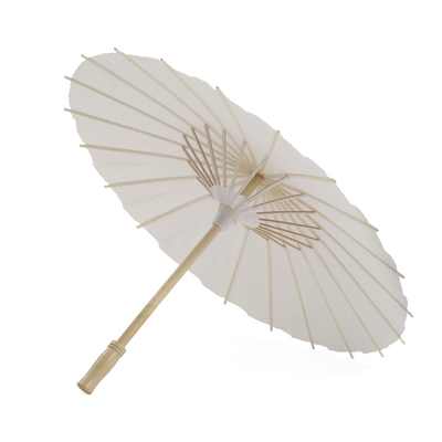 China Traditional Handmade Parasol Chinese Paper Umbrella White Color Wood Handle distributor